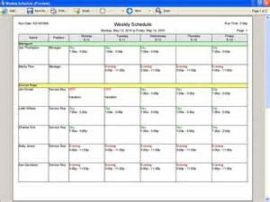 Printable Employee Work Schedule