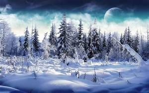 Winter, Moon, Trees, Snow, Mountain, Nature, Wallpapers, Hd, Desktop, And, Mobile, Backgrounds