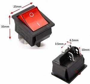 Rocker Switch 240v Mains Red On    Off Double Pole 4 Pin