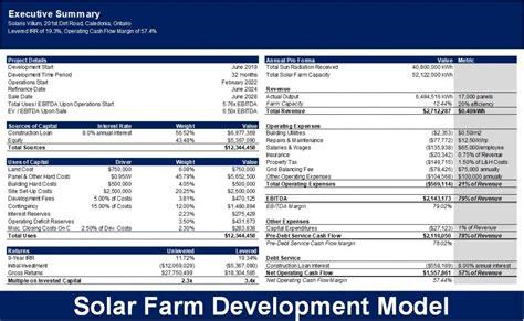 solar farm development excel model template eloquens