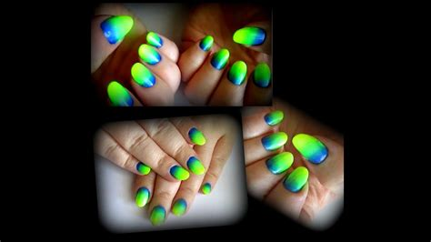 neon yellow green blue ombre nails youtube