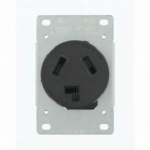 Leviton 30 Amp 125-volt  250-volt Shallow Single Flush Mounted Outlet  Black-r30-05207-s10