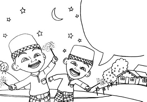 upin ipin celebrating eid al fitr colouring pages picolour