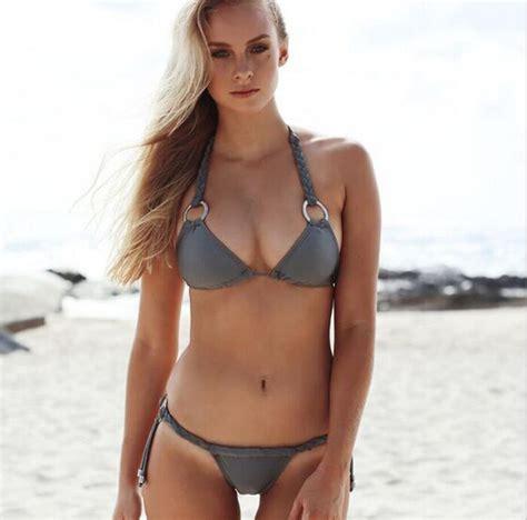 Sexy Mental Ring Knitting Bikini Swim Sex Bath Swimwear Monkini Departure Beach Trikini Push Up