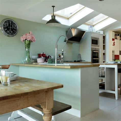 pale green kitchen pale green and oak kitchen ideal home 1405