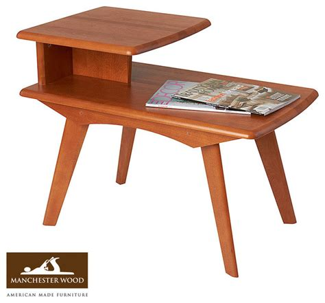 retro 2 tier end table by manchester wood midcentury