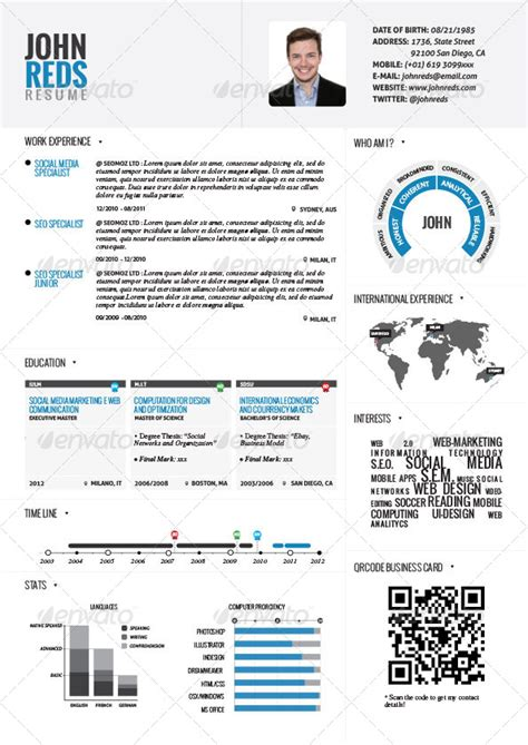 resume infographic template free 20 best creative resume templates exles