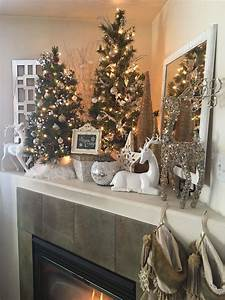 Warm, And, Cozy, Corner, Mantle, Christmas, Decor, Reindeer, White, Silver, Gold
