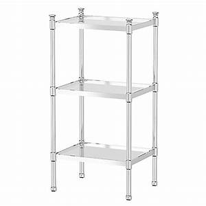gatco taboret 3 tier glass and metal shelving unit bed With metal bathroom shelving unit