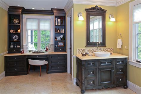 Master Bathroom Vanity With Makeup Area by Baths James Kershaw Associates
