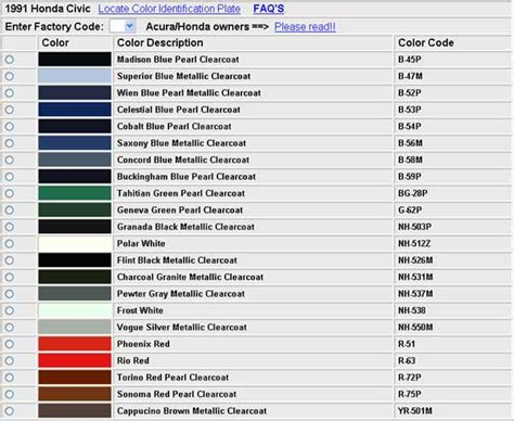 honda color codes codes couleurs honda 88 91