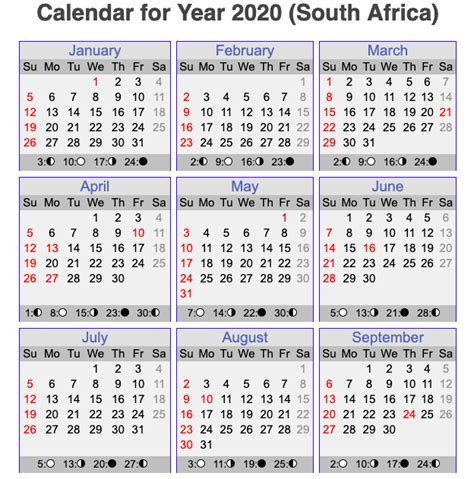 printable south african calendar template