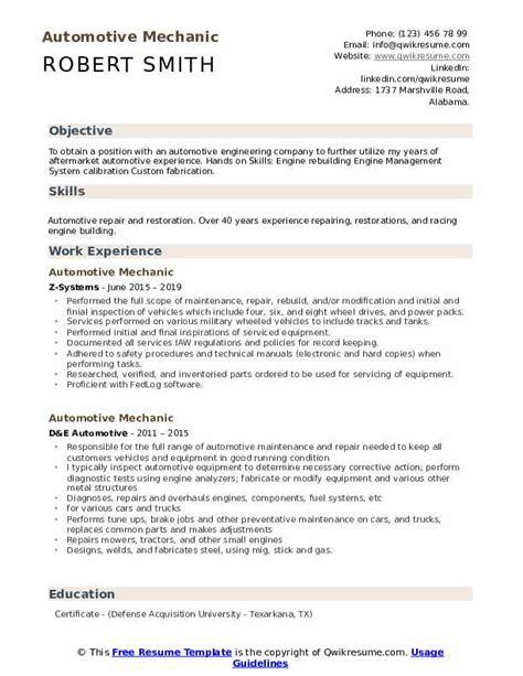 Resume Engine by Automotive Mechanic Resume Sles Qwikresume