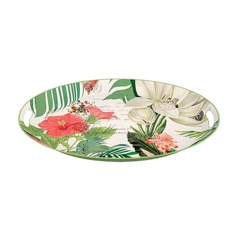 michel design works trays vanilla palm medium metal tray by michel design works