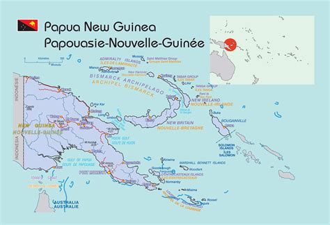 large political map  papua  guinea  roads