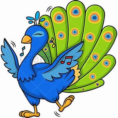 Peacock Dancing Clipart Cartoon Vector Friendlystock Sane