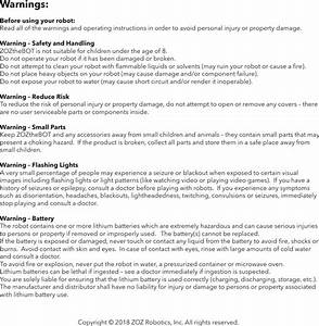 Zoz Robotics Bot Zozthebot User Manual User Manual