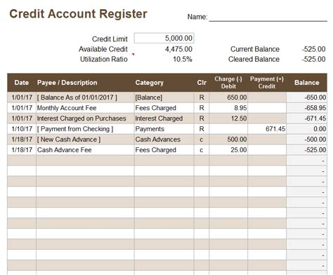 credit account register template  excel