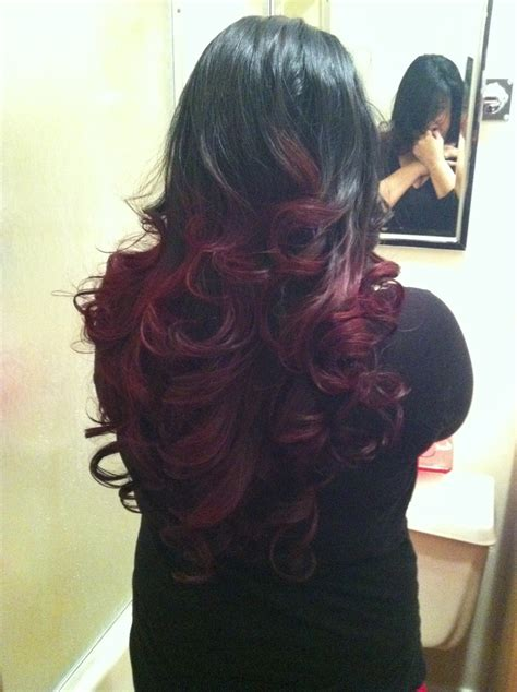 Black And Red Ombre Hair Pinterest Red Ombre And Ombre
