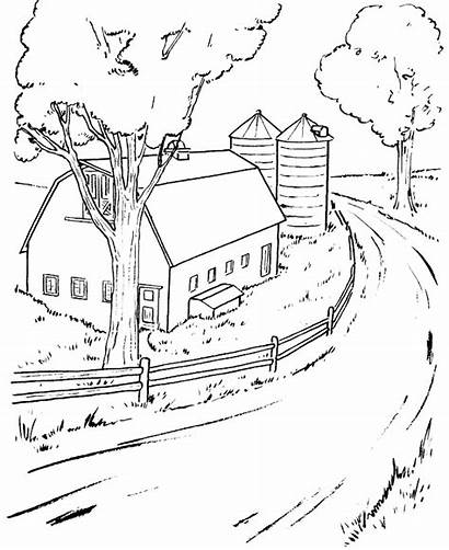 Scenery Coloring Barn Sheet Pages Nature Around