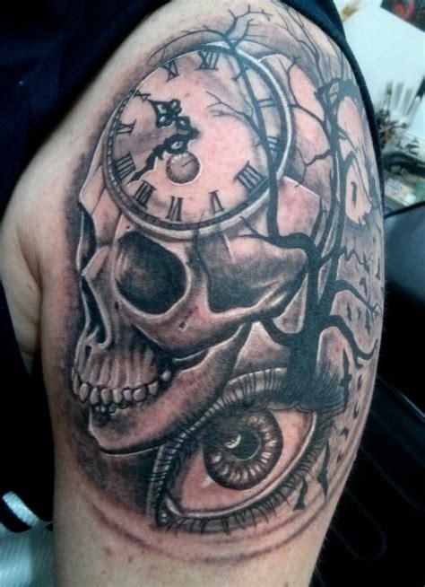 skull clock eye tree bats tattoo tattoos   tattoos skull tattoos skull tattoo design