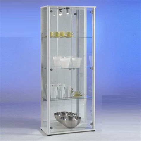 classico glass display cabinet in white with light 4238