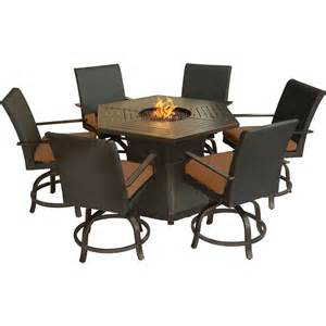 High Top Patio Table With Pit by Hanover Aspencrk7pcfp Aspen Creek 7 Pit Outdoor