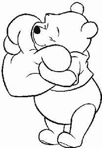 Stampa disegno di Winnie Pooh con il Cuore da colorare