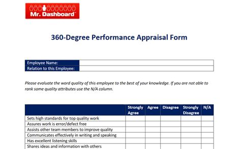 360 Performance Evaluation Template by 360 Degree Performance Appraisal Forms And Exles Mr