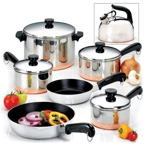 revere  piece copper bottom cookware set  overstockcom shopping great deals