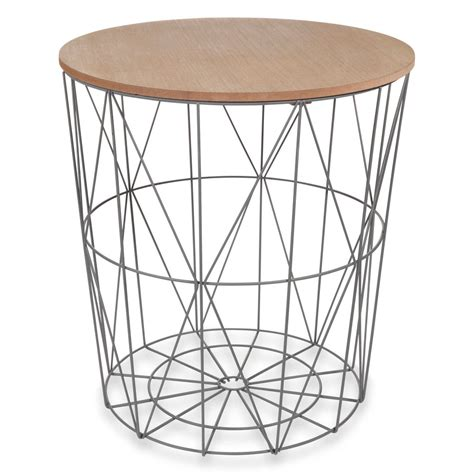 zigzag grey metal side table d40cm maisons du monde