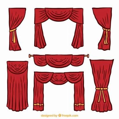 Theater Curtains Drawn Vector Hand Several Freepik