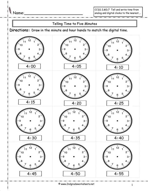 clock worksheets to minute math practice telling time