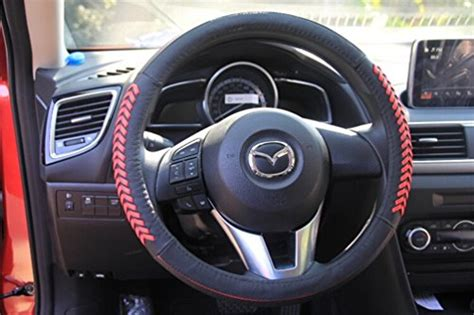 vesul red steering wheel glove leather cover compatible