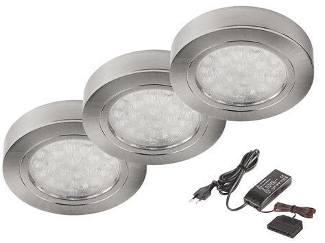 3er Set runde LED Schrank Küchen Unterbau Leuchte