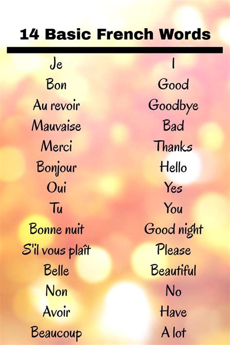 Pin on Basic french words
