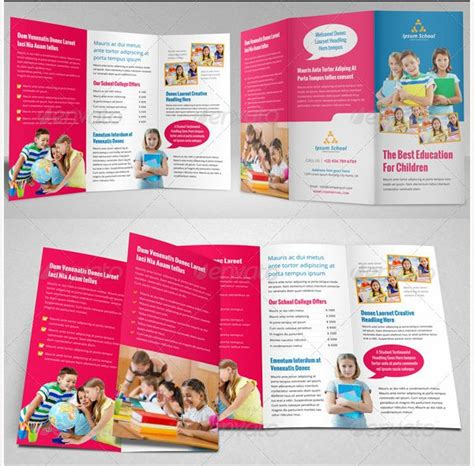 brosur sekolah education school trifold brochure