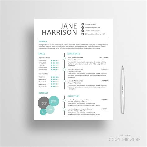 resume template cv template  cover letter  ms word