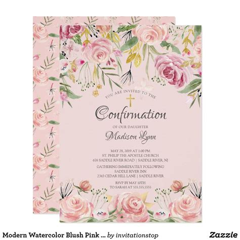 Modern Watercolor Blush Pink Floral Confirmation