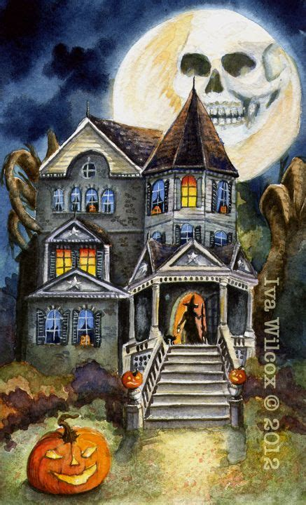 ehag halloween haunted witch mansion watercolor print