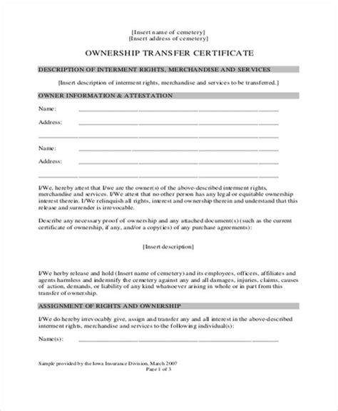 two forms of owner s title insurance 8 ownership transfer letter templates pdf doc free