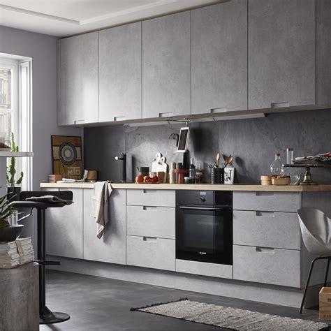 cuisines delinia meuble de cuisine décor béton delinia berlin leroy merlin