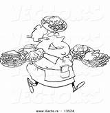 Waitress Coloring Plates Many Outline Carrying Cartoon Fat Female Toonaday Waiter Template Vecto Rs sketch template
