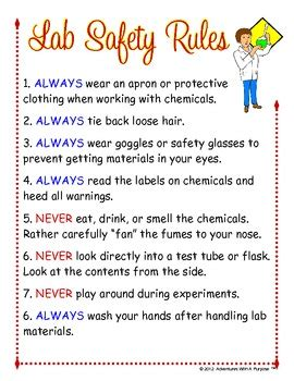 science lab safety rules poster  learning adventures tpt