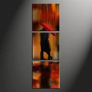 3 Piece Red Modern Rain Photo Canvas
