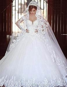 romantic princess long sleeve white lace wedding dress With long sleeve white lace wedding dress