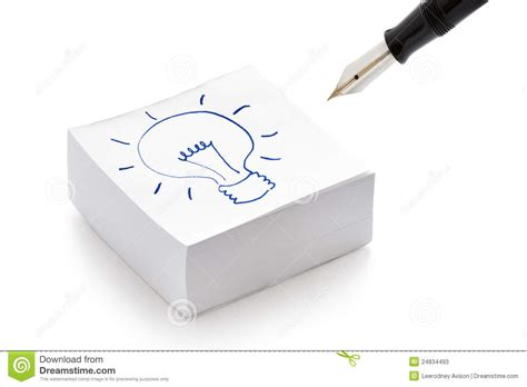 lightbulb drawing on post it notes idea concept stock