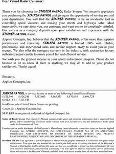 Applied Concepts Acmi006 Stalker Patrol User Manual