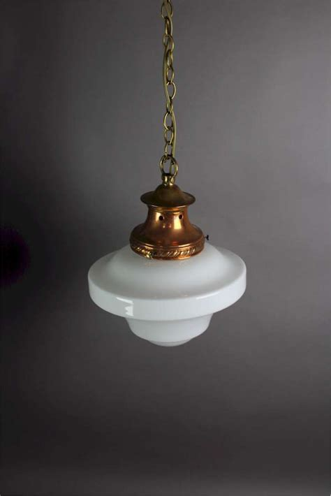 l shade wide fitting edwardian pendant light copper fitting with milk shade