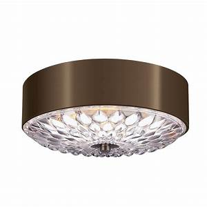 Flush fit decorative ceiling light in dark brass with